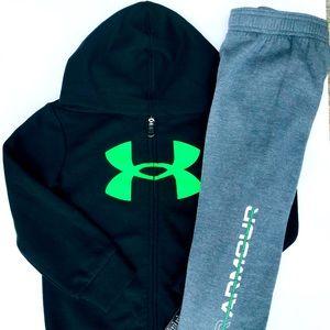NWT Under Armour Boys 2 Piece Hoodie Pants Set